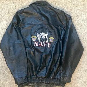 Vtg US NAVY Patched Leather Bomber Jacket Coat